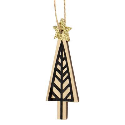 <h4>Hanger kerstboom Lines hout 9x3,5cm+16cm touw</h4>