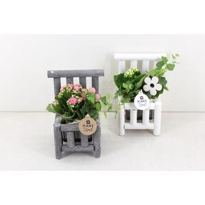 arr. PL - Houten stoel - roze/wit