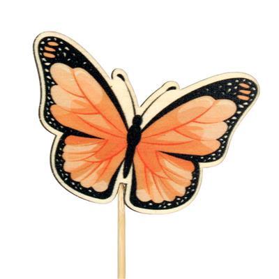 <h4>Pique papillon Single bois 6x7cm+12cm bâton orange</h4>