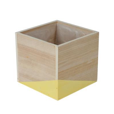 <h4>Pot Alvie en bois 12x12xH11cm jaune</h4>