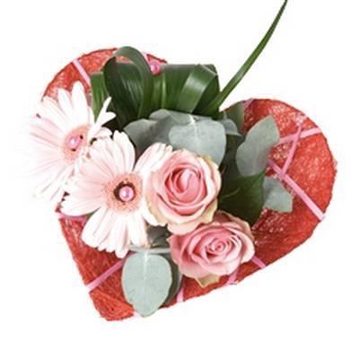 <h4>Bouquet holder sisal heart Ø25cm Deco-line red</h4>