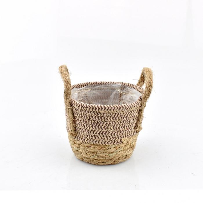 <h4>Baskets Stro+hessian pot d14*11.5cm</h4>