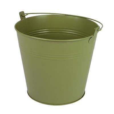 <h4>Bucket Sevilla zinc Ø17.8xH15.8cm -ES17 green mat</h4>