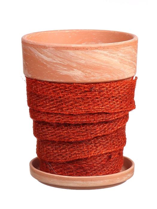 <h4>DF010057337 - Pot+saucer Lilo+jute d.orange d11.6cm</h4>