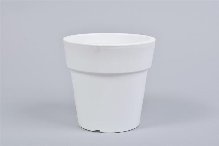 <h4>Kunststof Pot Wit Brede Rand 16x15cm</h4>