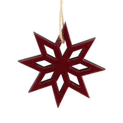 <h4>Hanger ster Elsa velvet hout 6x6cm+16cm touw rood</h4>