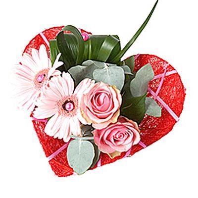 <h4>Bouquet holder sisal heart Ø15cm Deco-line red</h4>