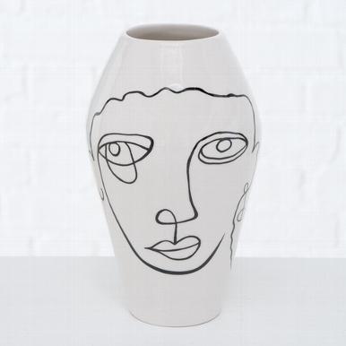 <h4>Vase Tipton , H 16 cm, Dolomite, Black, White dolomite colour-mix</h4>