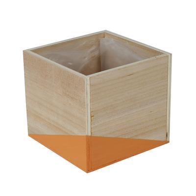 <h4>Pot Alvie en bois 12x12xH11cm orange</h4>