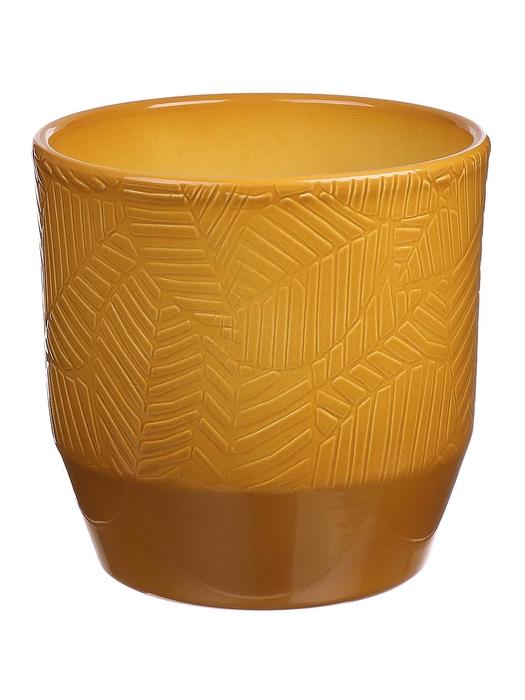 <h4>DF883654147 - Pot Pisa+leaf d13.5xh13.2 curry glazed</h4>