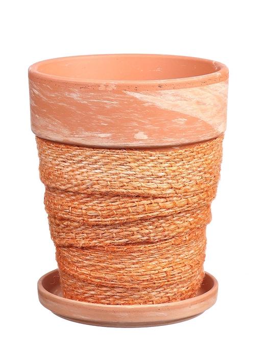 <h4>DF010057437 - Pot+saucer Lilo+jute l.orange d11.6cm</h4>