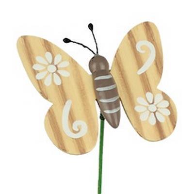 <h4>Pique Papillon naturel bois 6x7cm+bâton 50cm</h4>