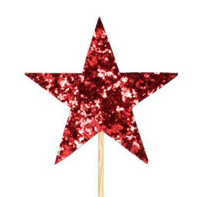 <h4>Pique star feutre 7x7cm +12cm bâton rouge</h4>