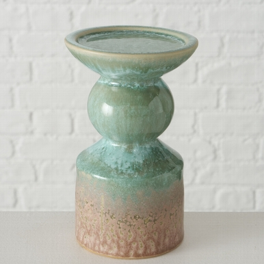 <h4>Candle holder Peruya , Round, H 15,00 cm, Stoneware, Green, Sage green stoneware colour-mix</h4>