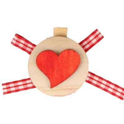 <h4>Knijper schijf 5,5cm + hart + gingham lint rood</h4>