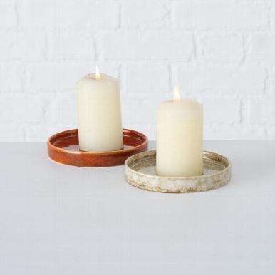 <h4>Candle plate Jany, 2 ass., Round, D 9,50 cm, Porcelain, Beige, Brown porcelain colour-mix</h4>