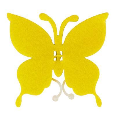 <h4>Butterfly felt 8x8,5cm + clip yellow</h4>
