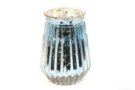 <h4>SHIMMER ETCHED TLIGHT GLASS ROUND H22.0 D16.0 BLUE 861824043</h4>