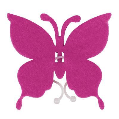 <h4>Butterfly felt 8x8,5cm + clip cerise</h4>