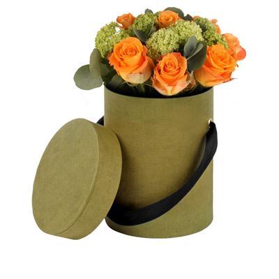 <h4>Hoedendoos Fabric karton+lint Ø13xH17cm groen</h4>