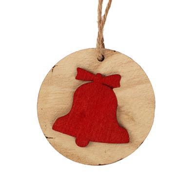 <h4>Hanger schijf+bel hout 5,5cm+16cm touw rood</h4>