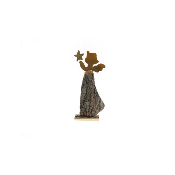 <h4>Fig. Wood+mtl. Angel 32x16cm</h4>