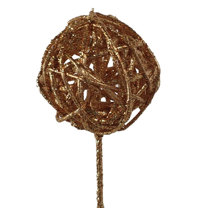 <h4>Bruce ball 5cm  on stem Antique Gold with glitter</h4>