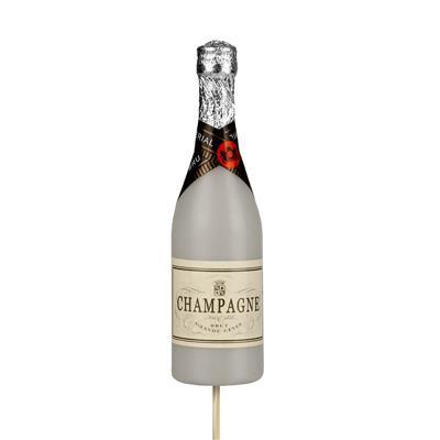 <h4>Bijsteker Champagnefles 13,5x4cm+50cm stok wit</h4>