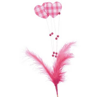 <h4>Bijsteker Hart+veer+parels 17x7cm+15cm stok roze</h4>