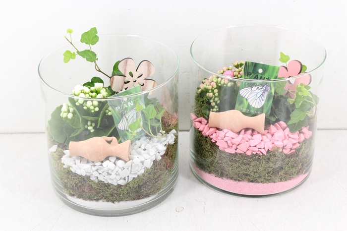 <h4>arr. PL - Glas cilinder L - roze/wit</h4>