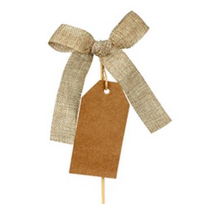 <h4>Pique noeud woven13x10cm+étiquette+bâton 12cm br.</h4>