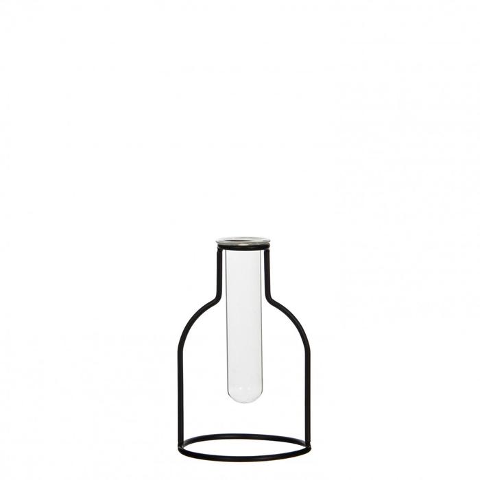 <h4>Glass Bottle+metal frame d10*15cm</h4>