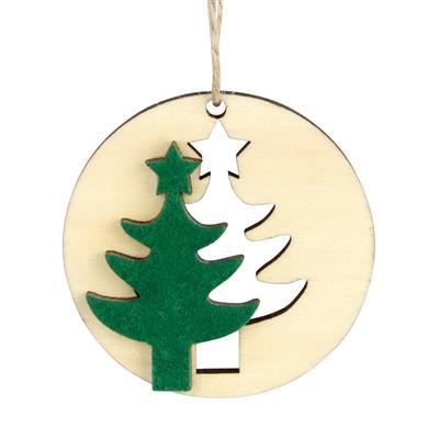 <h4>Hanger kerstboom hout+vilt Ø6cm + 16cm touw groen</h4>