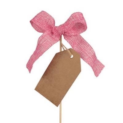 <h4>Pique noeud woven13x10cm+étiquette+bâton 50cm rose</h4>