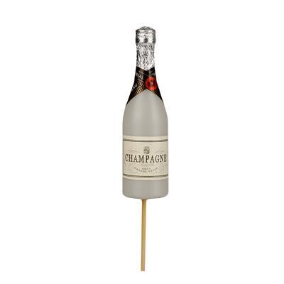 <h4>Bouteille de champagne 13,5x4cm sur tige 50cm blan</h4>