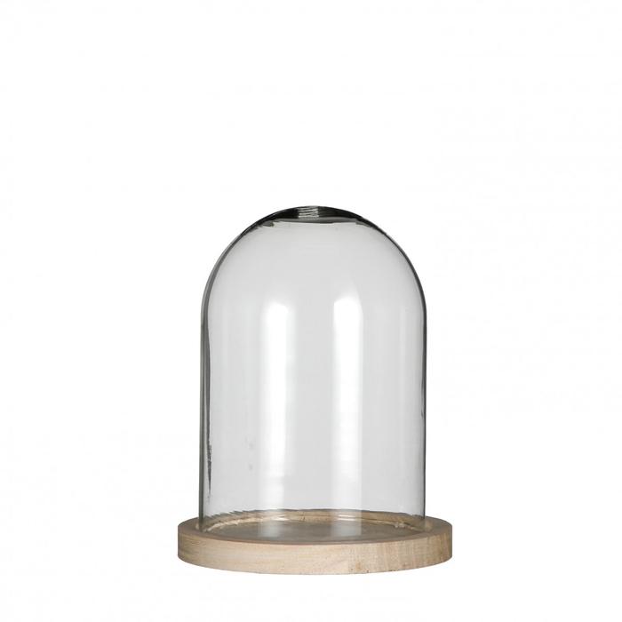 <h4>Glass Cloche+wood d12*16cm</h4>