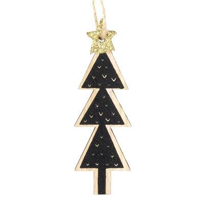<h4>Hanger kerstboom Black hout 9x3,5cm+16cm touw</h4>