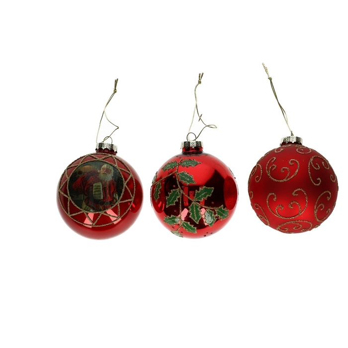 <h4>Christmas bauble Ball deco  80mm 3ass</h4>