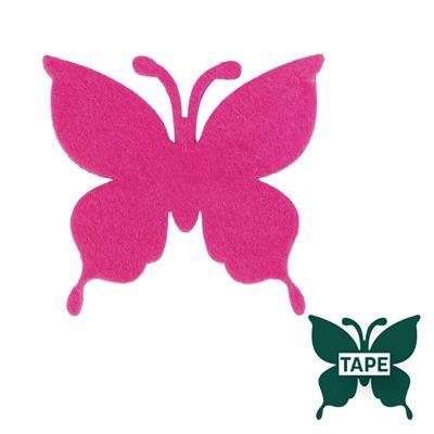 <h4>Butterfly felt 8x8,5cm + tape cerise</h4>