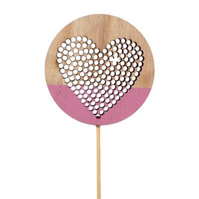 <h4>Pique Punched Heart bois Ø7cm sur 12cm bâton rose</h4>
