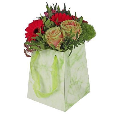 <h4>Bag Marble carton 12/12x15/15xH18cm green</h4>