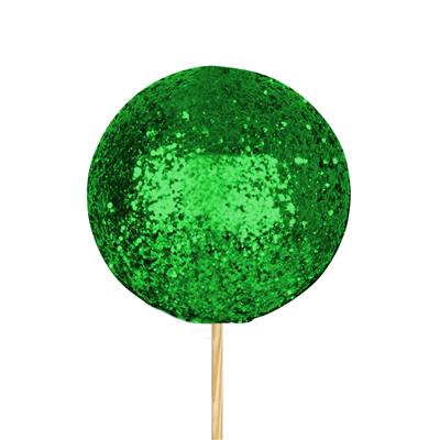 <h4>Bals de Noël Ø7,5cm vert glitter sur tige 50cm</h4>