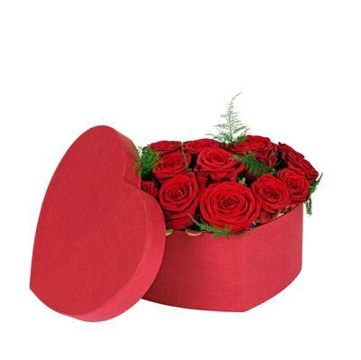 <h4>Hoedendoos Fabric hart karton 20x25xH10cm rood</h4>
