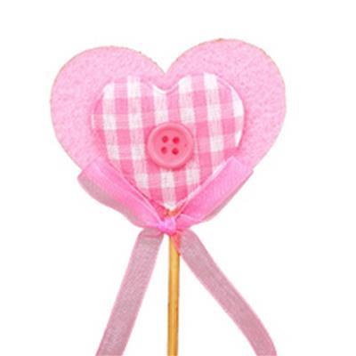 <h4>Pique Cœur feutre gingham 5x6+12cm sur tige rose</h4>