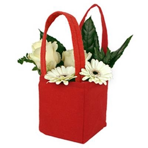 Bag Pastel felt 12,5x11,5xH14,5cm red