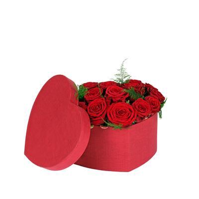 <h4>Hoedendoos Fabric hart karton 15x19xH10cm rood</h4>