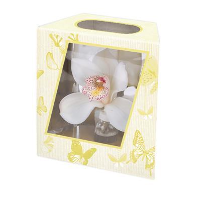 <h4>Boîte d' orchidee papillon 16/10x7,8xH17,5cm jaune</h4>
