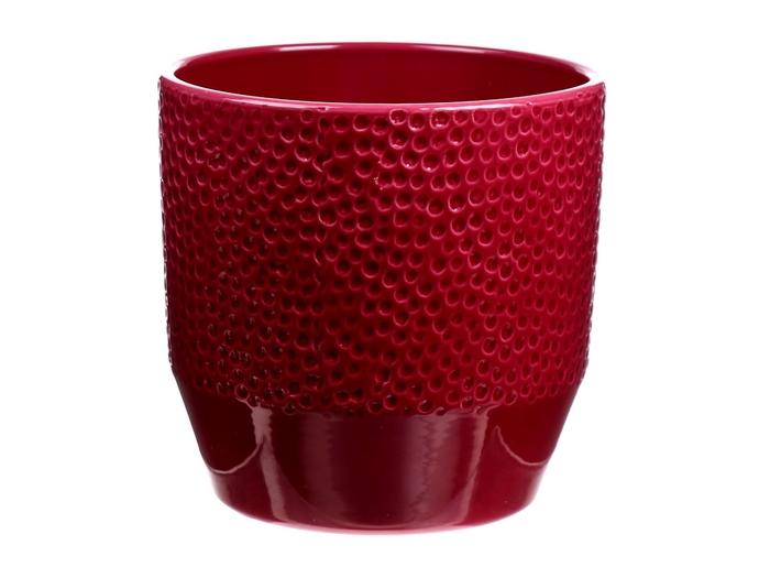 <h4>DF883651847 - Pot Pisa+dots d13.5xh13.2 rubin glazed</h4>