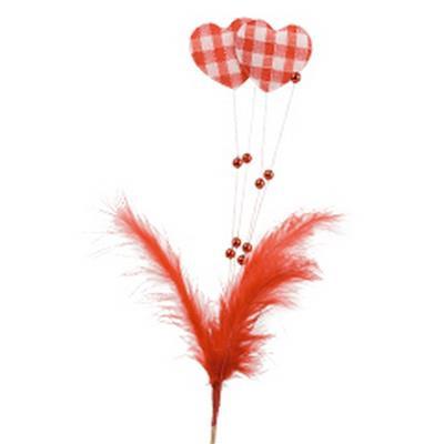 <h4>Sujet sur pic valentin+plumage+perle sur tige 50cm</h4>