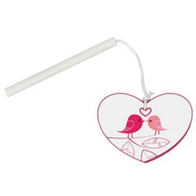 <h4>Hanger hart vogels hout 4,5x5,5cm+ stok wit</h4>